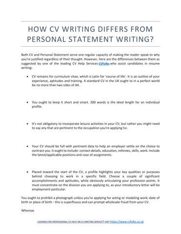 Help writing personal statement on cv application