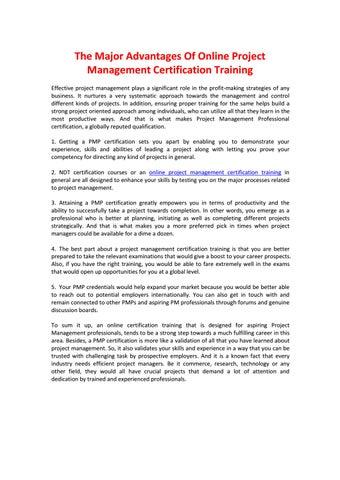 The major advantages of online project management certification ...