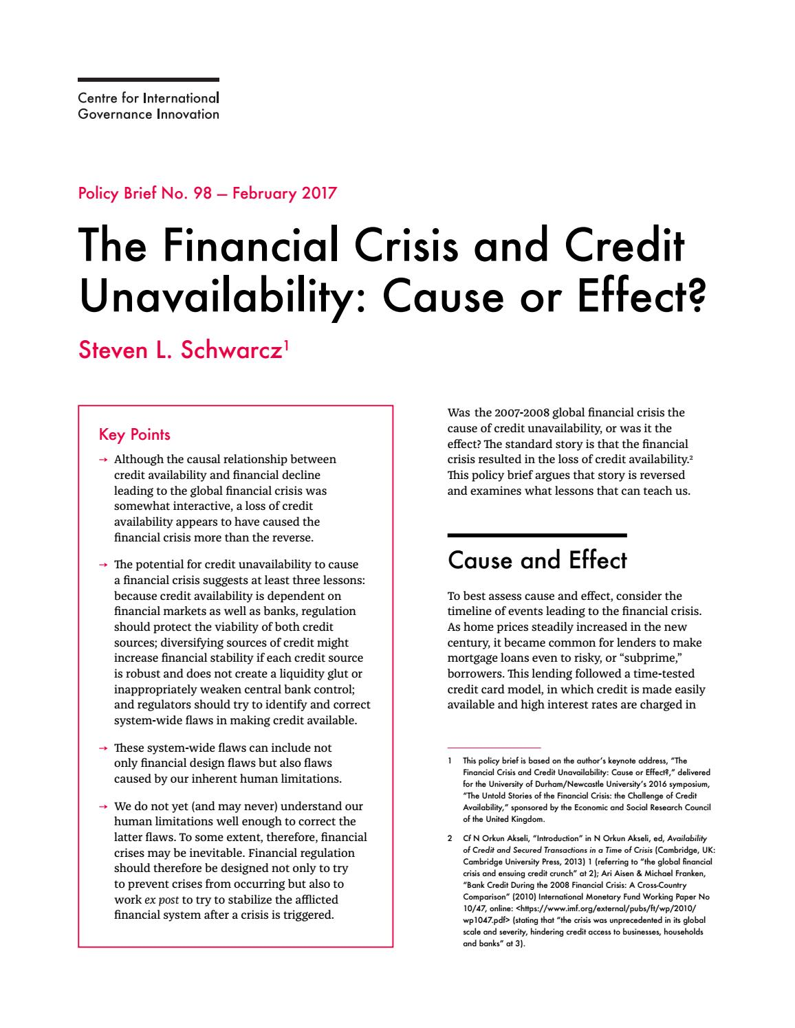 The financial crisis and credit unavailability by centre for the financial crisis and credit unavailability by centre for international governance innovation issuu fandeluxe Gallery