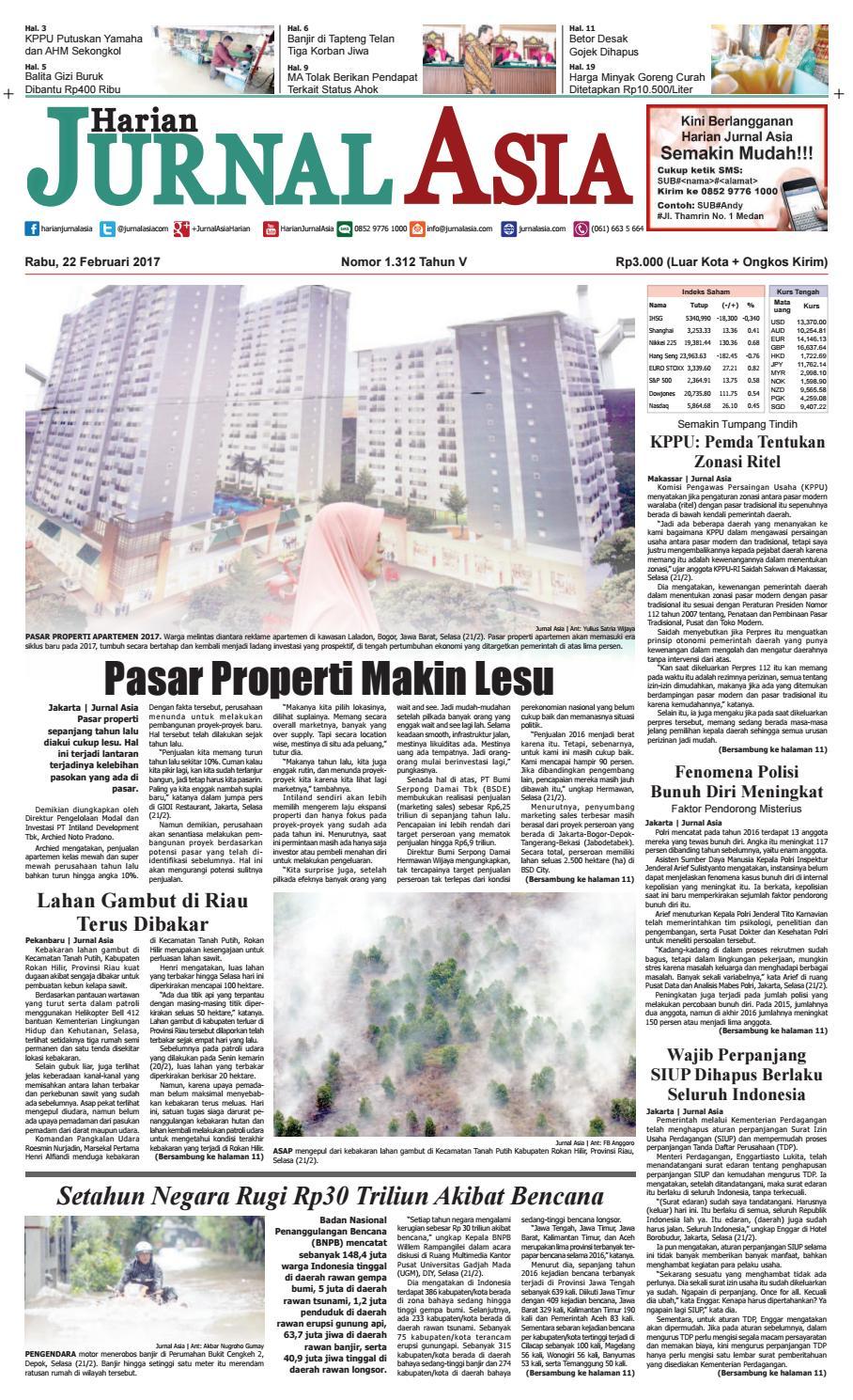Harian Jurnal Asia Edisi Rabu 22 Februari 2017 By Harian