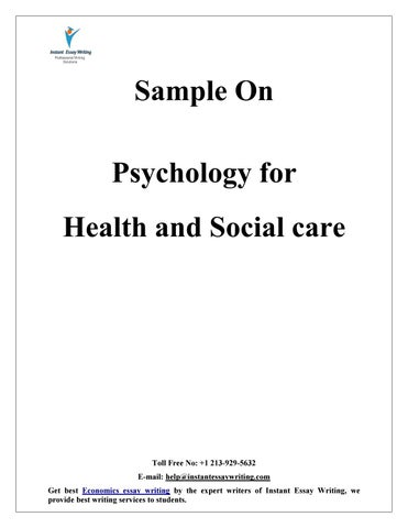 sample on psychology for health and social care by instant essay  sample on psychology for health and social care