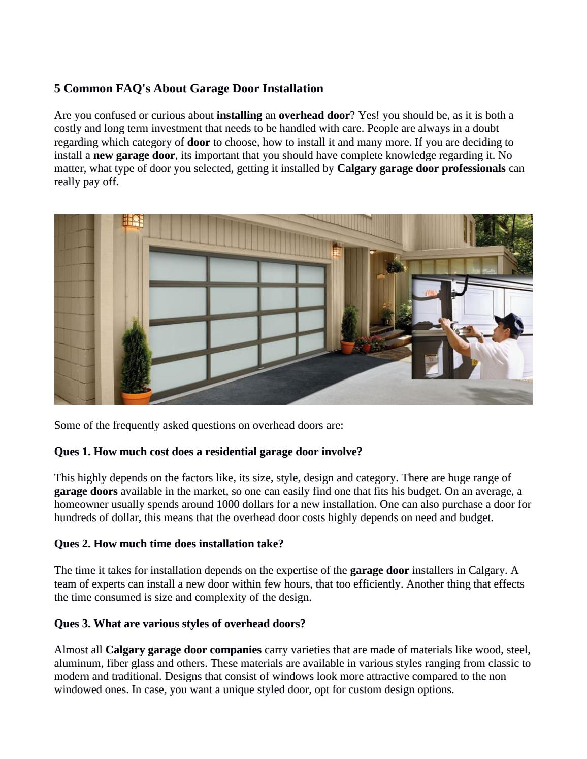 Tips To Install A New Garage Door In Calgary By
