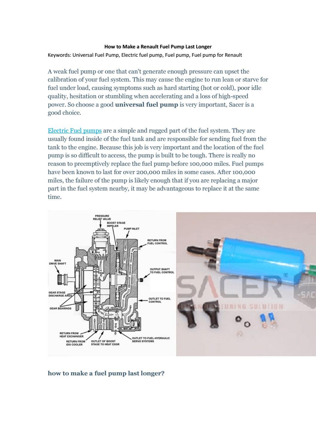 Renault Fuel Pump Diagram Wiring Manual Start How To Make A Last Longer Sacer Ltd By David Oy Megane 89 S10