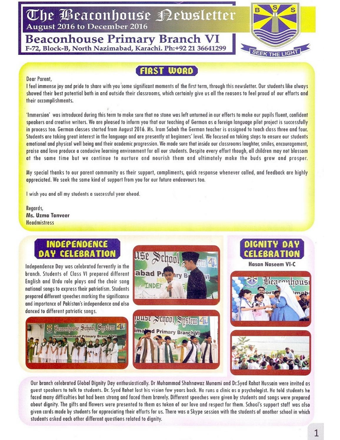 Newsletter Aug - Dec 2016 by Beaconhouse - issuu
