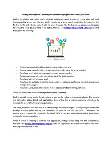 Node js Development Company Skilled in Developing Effective Web
