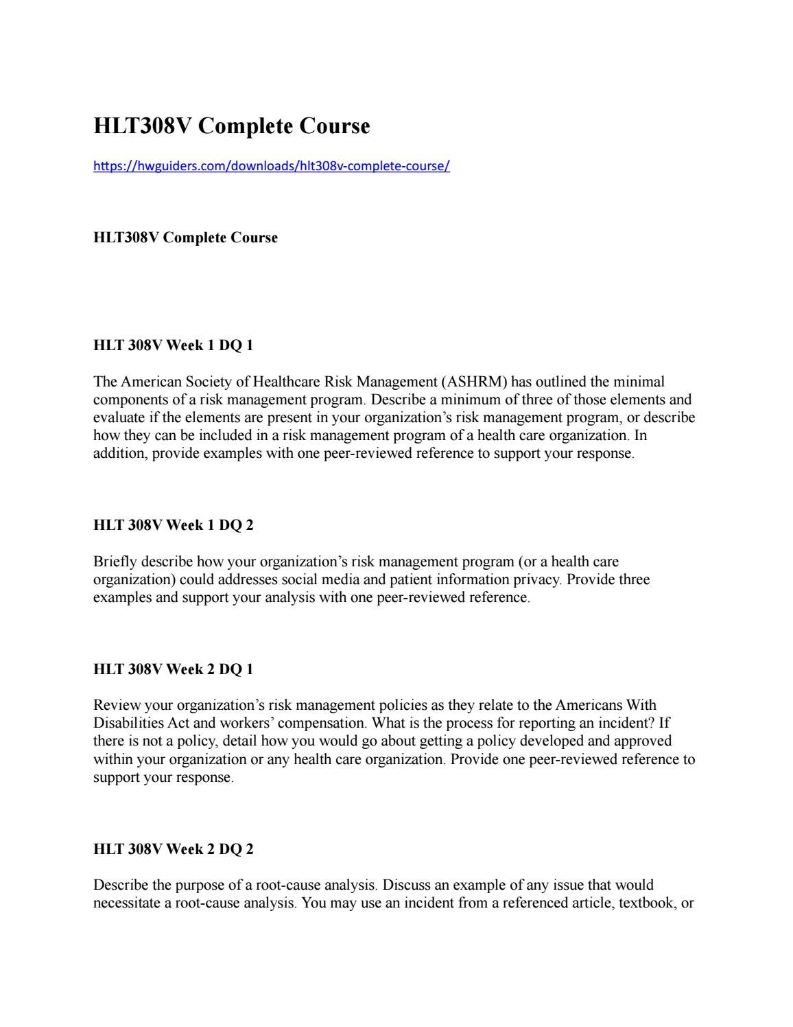 Hlt308v Complete Course By Hwguiders2017 Issuu