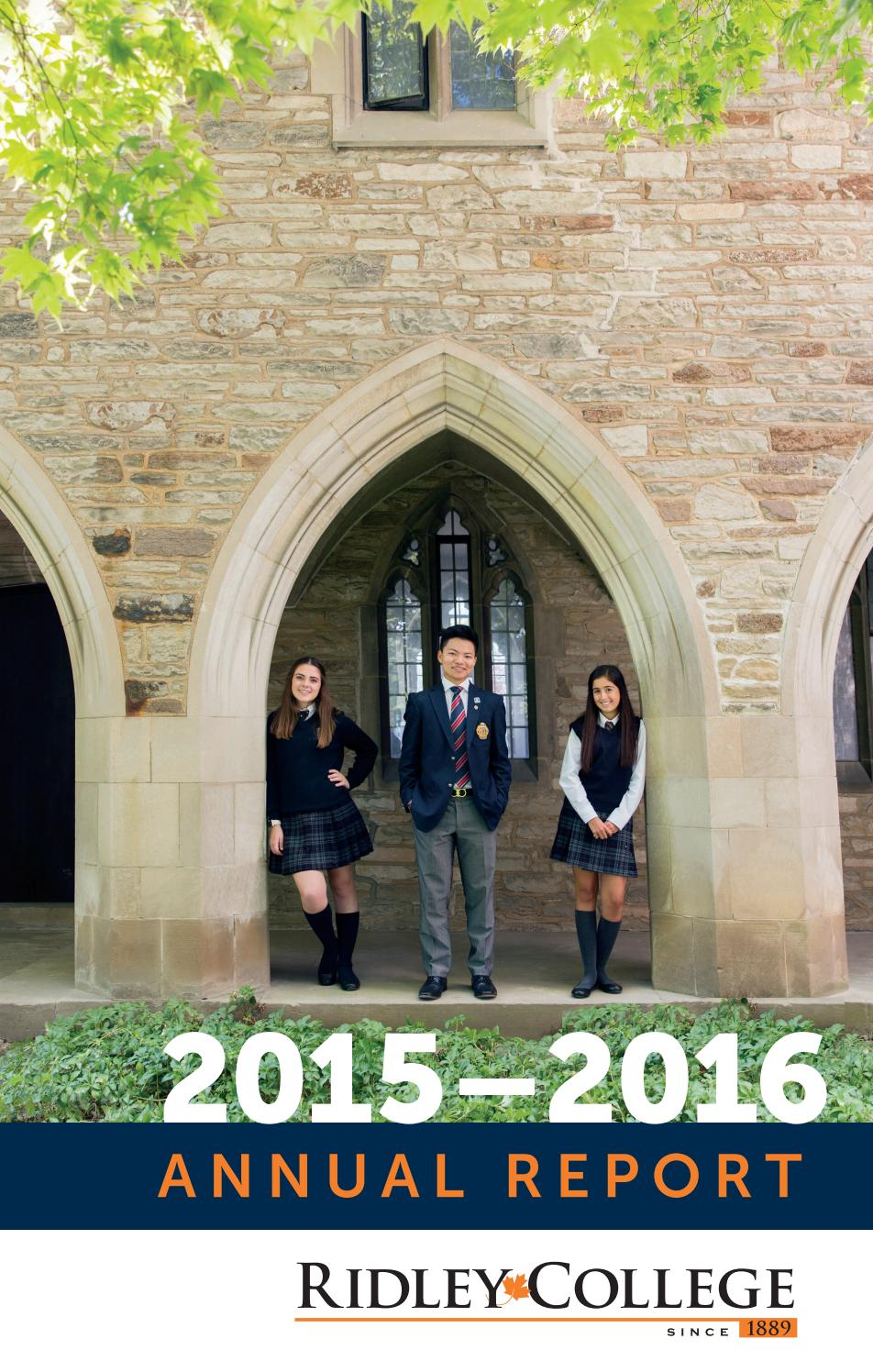 Ridley College 2015–16 Annual Report by RIDLEY_COMMS - issuu