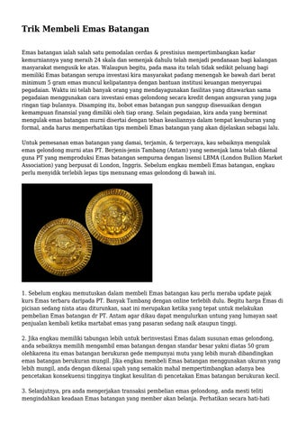 Trik Membeli Emas Batangan By Vipbisniscom Issuu