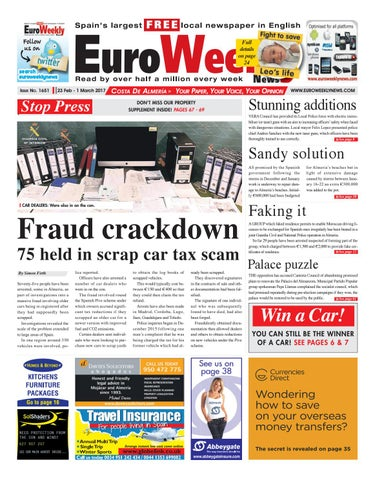 Euro weekly news costa de almeria 23 february 1 march 2017 issue page 1 fandeluxe Choice Image