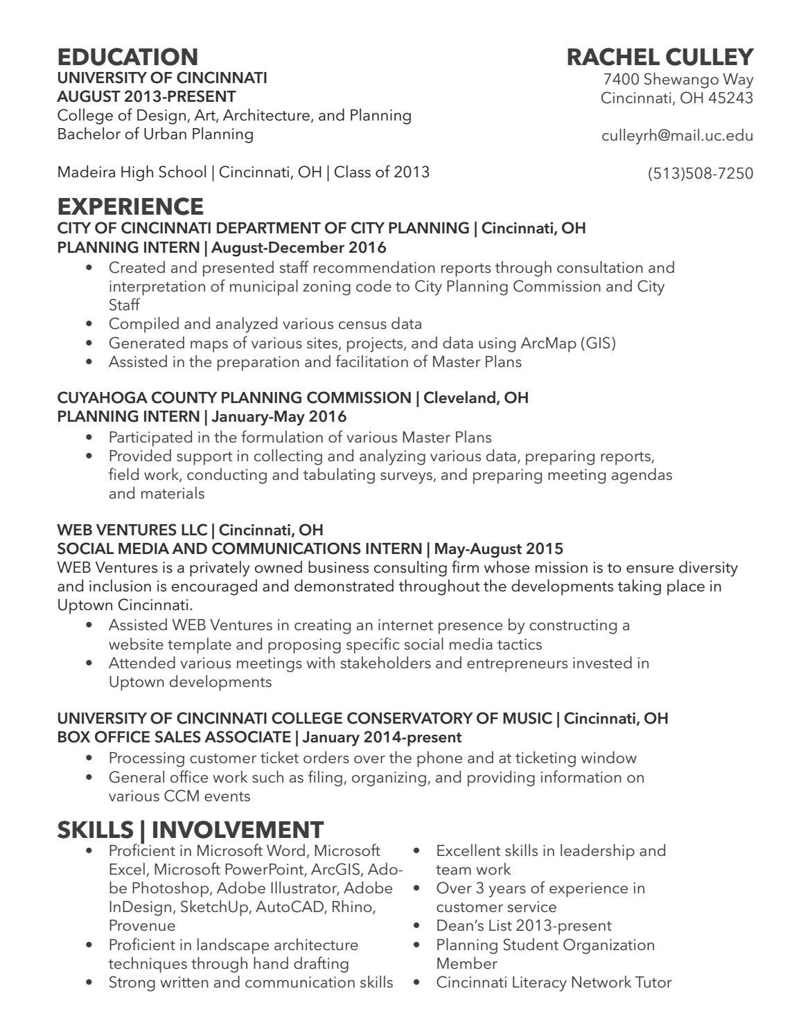 Resume by Rachel Culley - issuu
