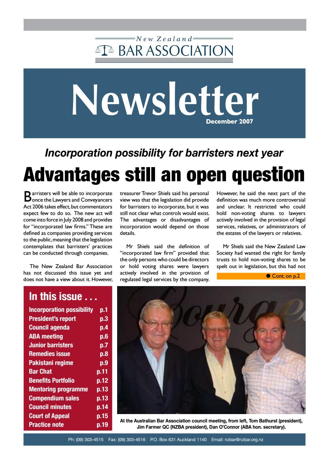 NZBA Newsletter December 2007 By New Zealand Bar Association
