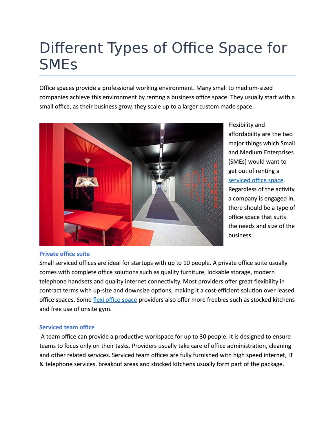 Different Types Of Office Space For Smes By Virtualofficeuae Issuu