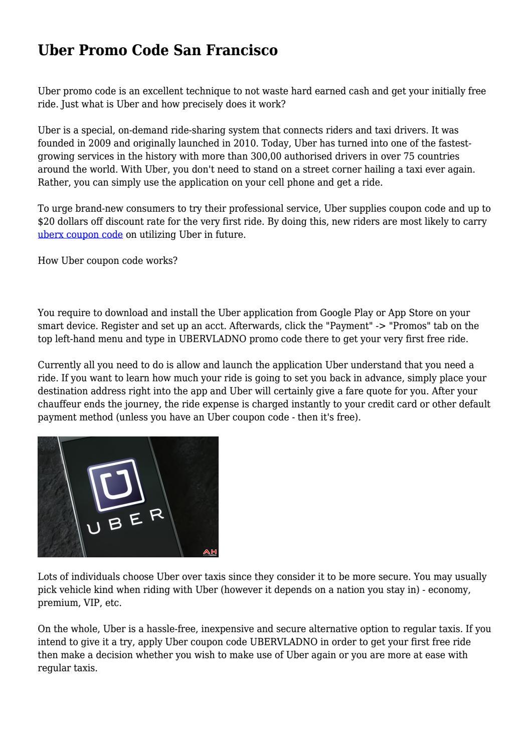 Uber Promo Code San Francisco    by travelworld4 - issuu