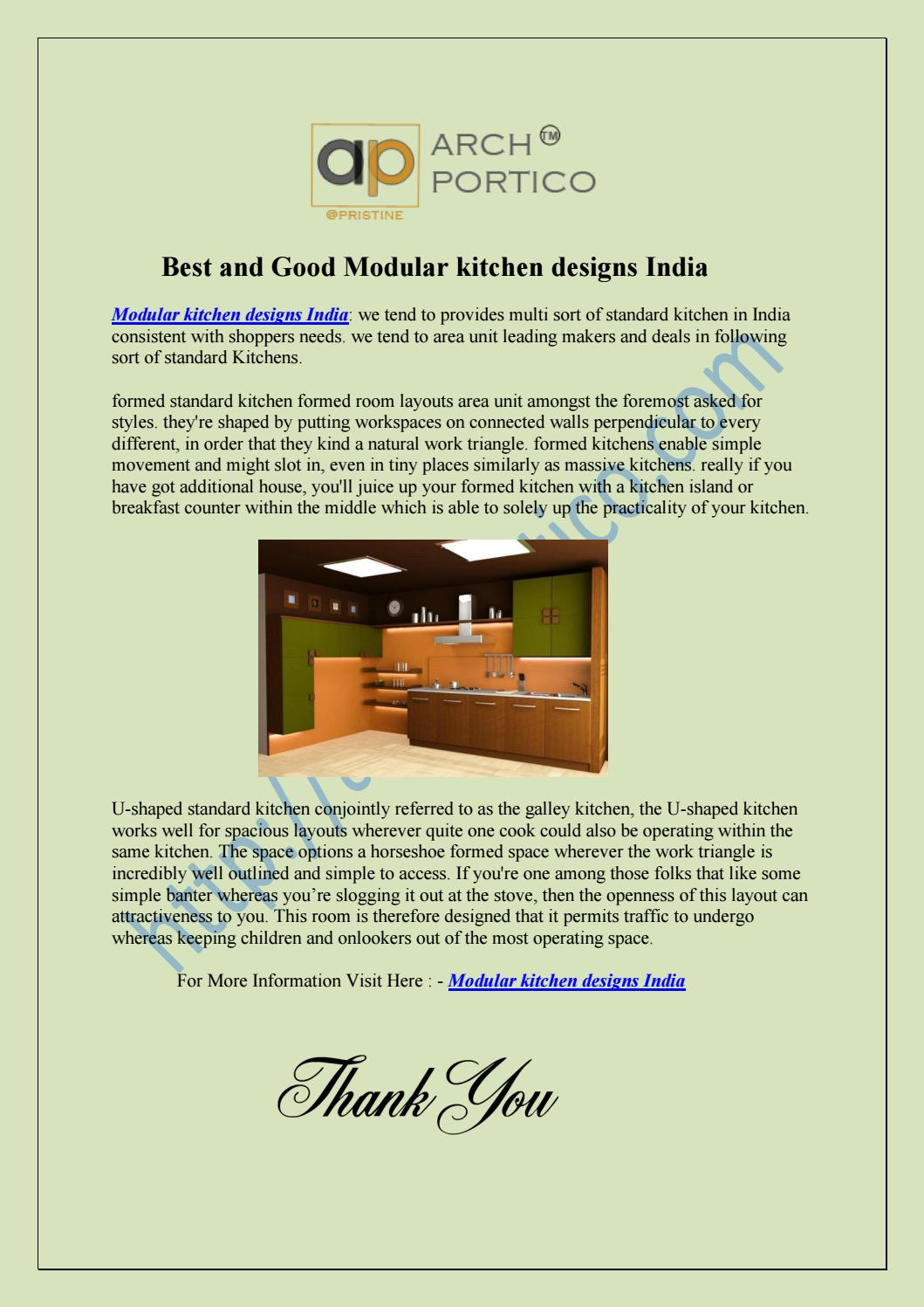 Best And Good Modular Kitchen Designs India By Archportico Issuu