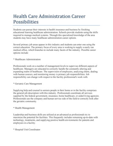 Health care administration career possibilities by whitesecret - issuu