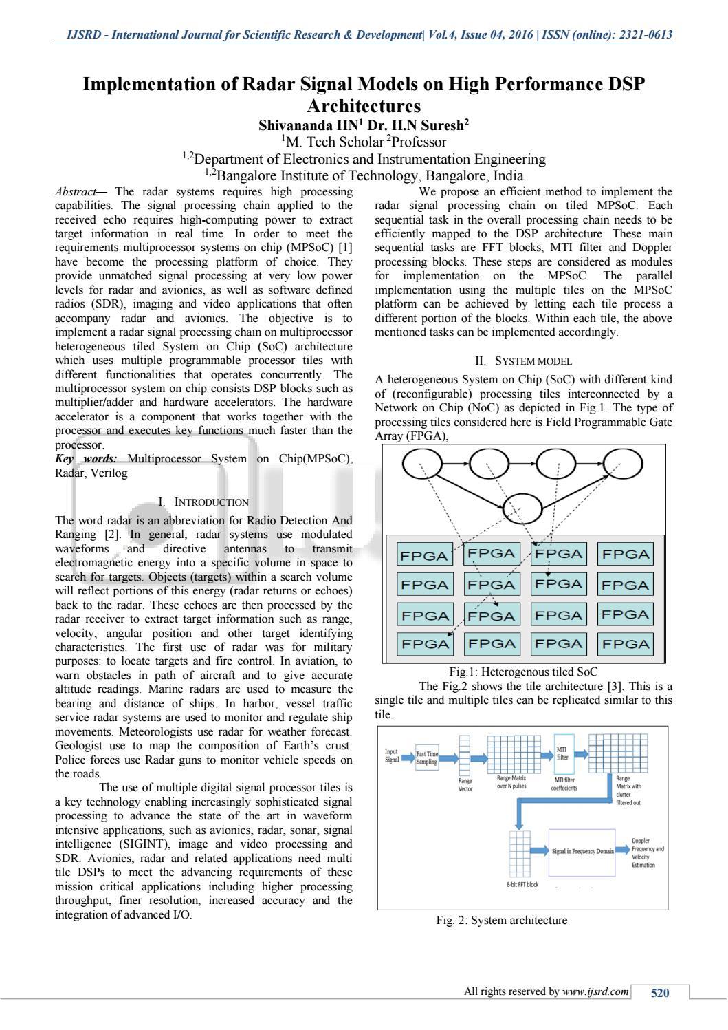 Implementation of Radar Signal Processing Model on Tiled System on