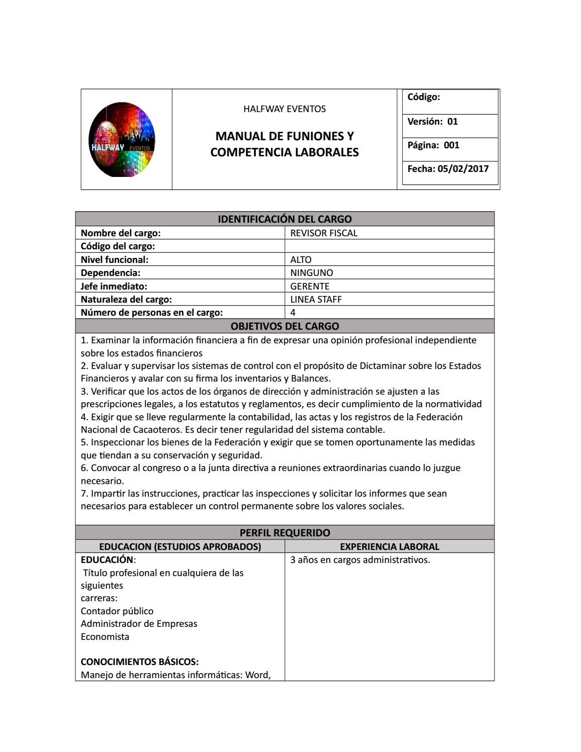 Manual De Funciones Revisor Fiscal By Erika Bonilla Issuu