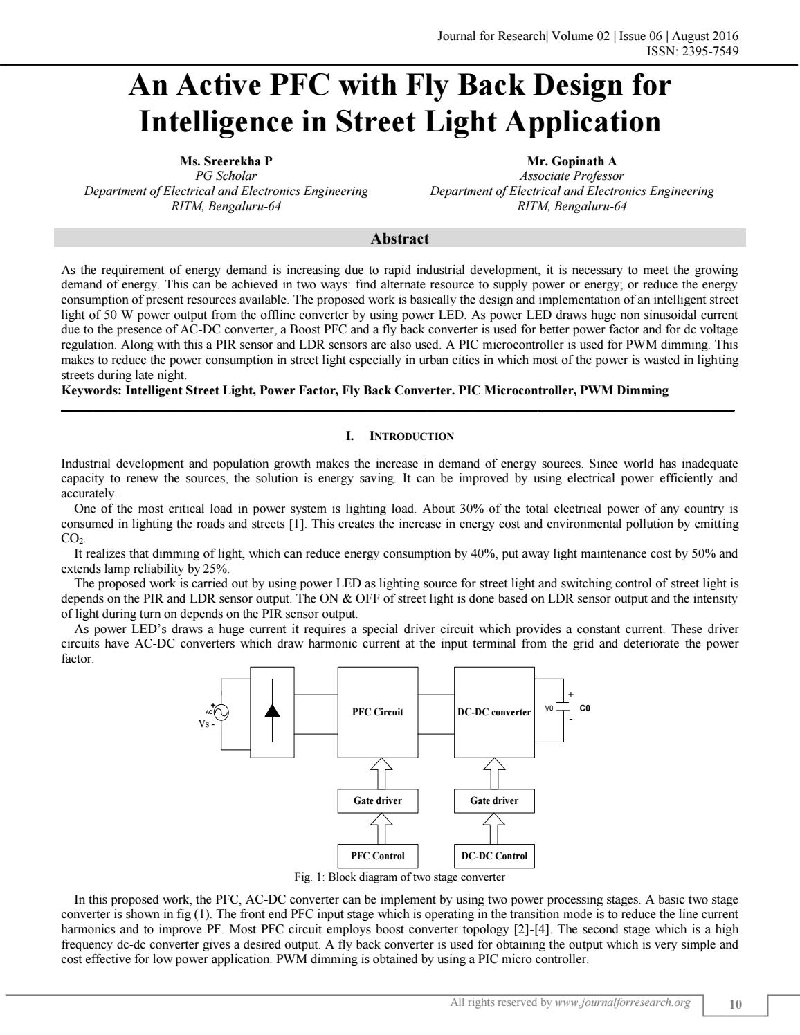An Active Pfc With Flyback Design For Intelligence In Street Light Fly Back Transformer Driver Wiring Diagram Schematic Rise Application By Journal 4 Research Issuu