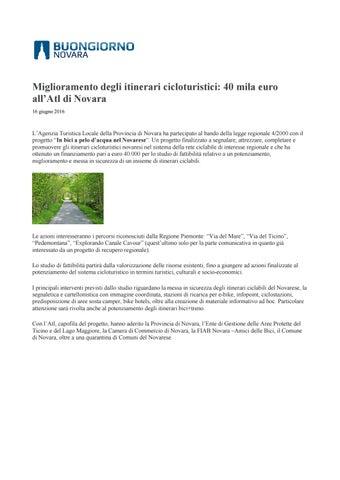 Miglioramento degli itinerari cicloturistici  40 mila euro all Atl di  Novara 16 giugno 2016 42bada386b8