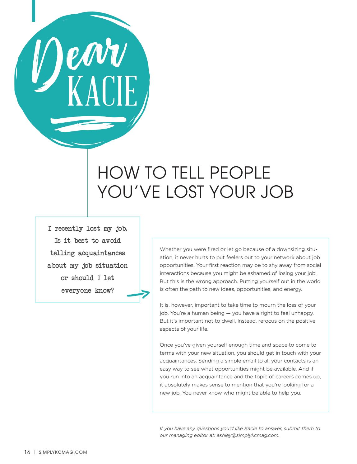 simplykc magazine march 2017 by julie faerman issuu - I Lost My Job Now What What To Do When You Lose Your Job