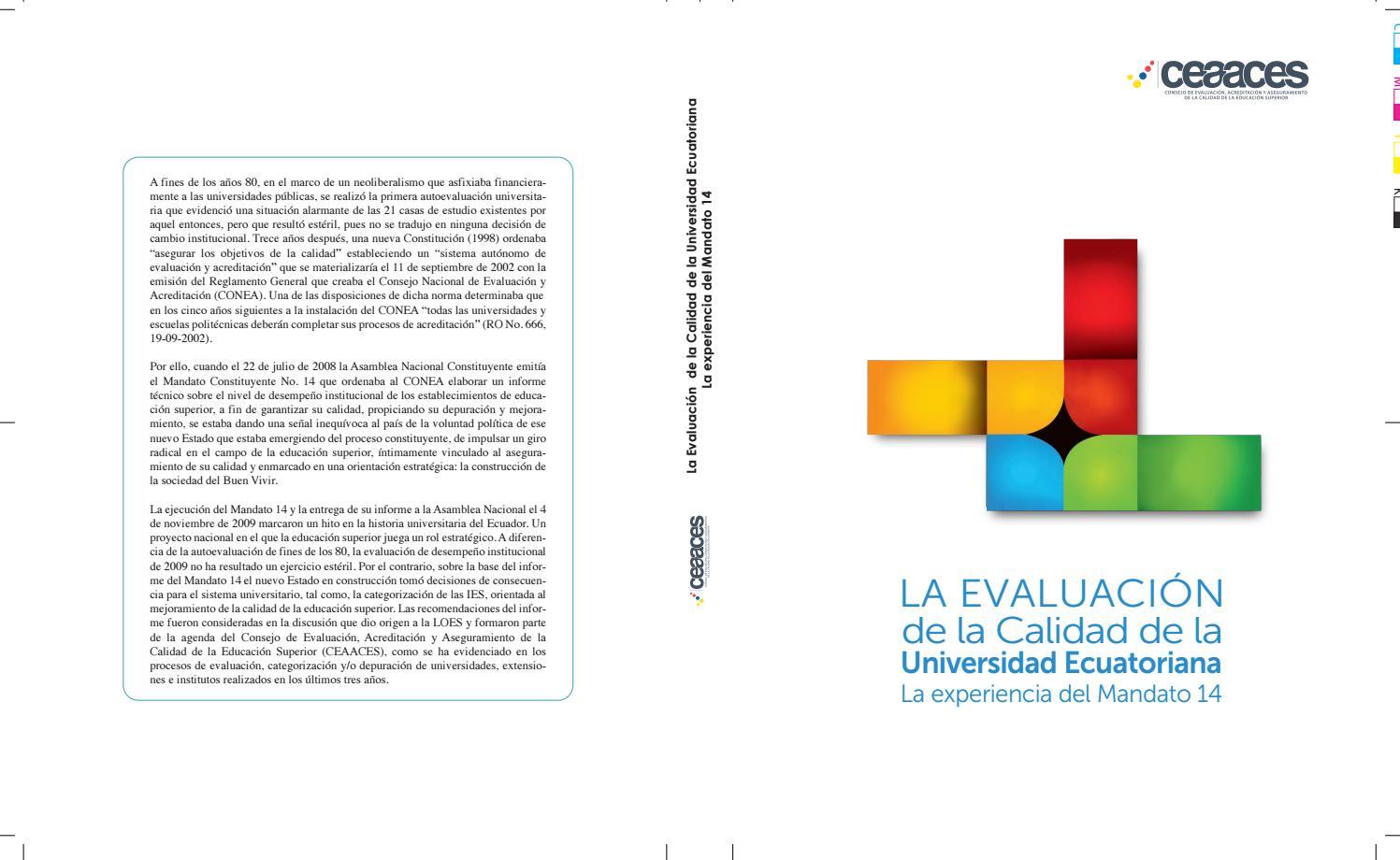 La evaluación de la calidad by CEAACES - issuu