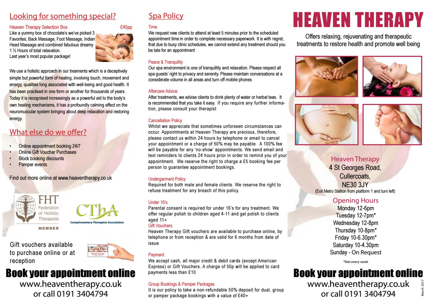 Heaven Therapy Leaflet By Issuu Voucher Rma