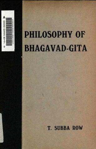 Tiruvalum Subba Row - The Philosophy of the Bhagavad-Gita, 1921