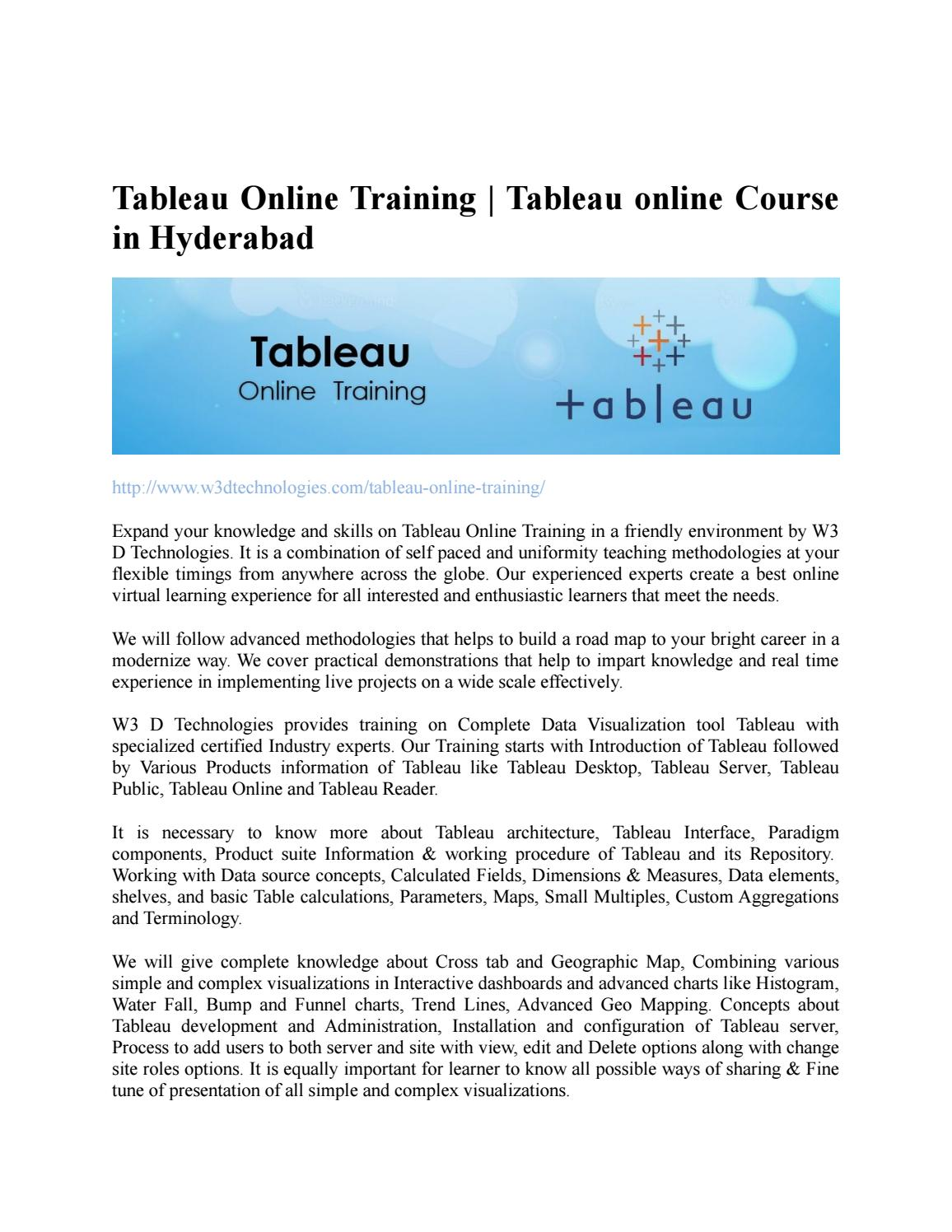 Tableau online training in Hyderabad by kiran - issuu