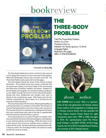 4ef37b933 bookreview The Three-Body Problem Title:The Three-Body Problem Author: Liu  Cixin Translator: Ken Liu Publisher: Tor Books (January 12, 2016) Language:  ...