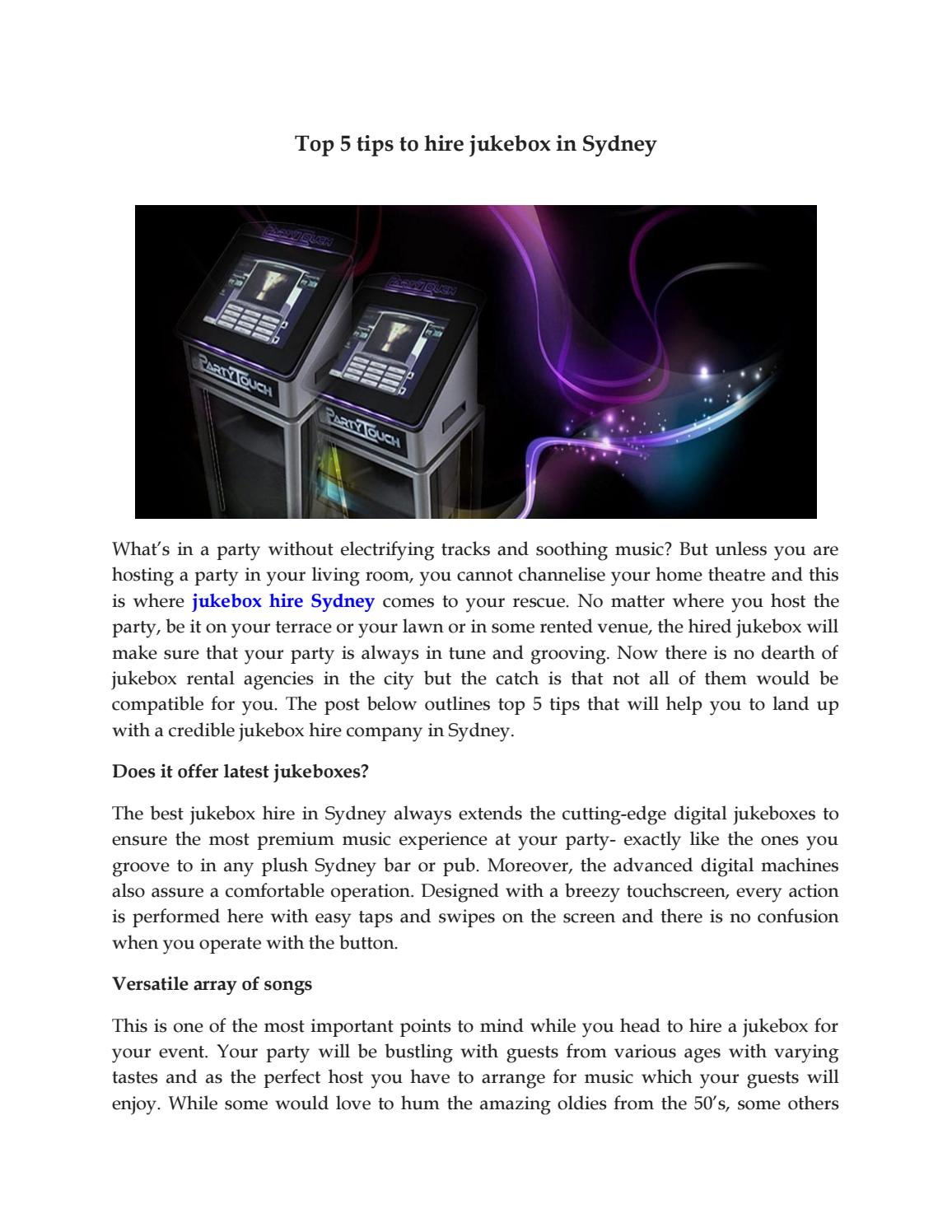 Top 5 tips to hire jukebox in Sydney
