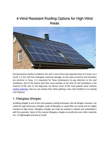 4 Wind Resistant Roofing Options for High Wind Areas by Brad