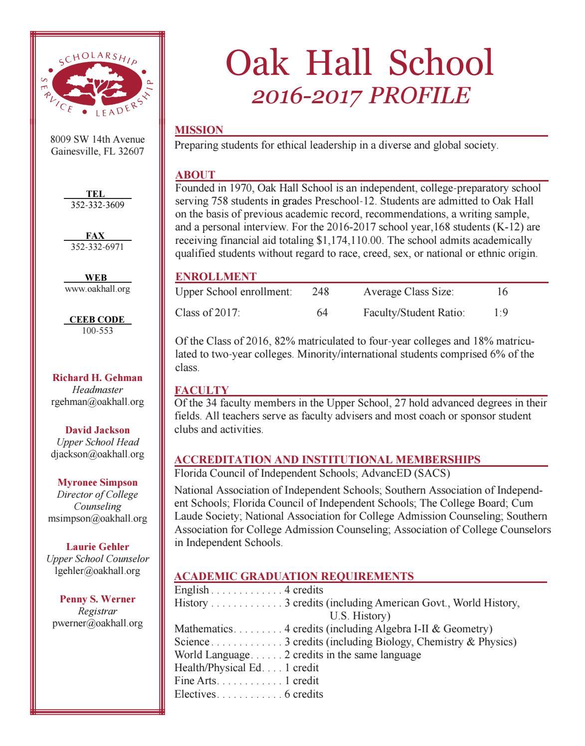 Oak Hall School Profile 2016-17 by Oak Hall School - issuu