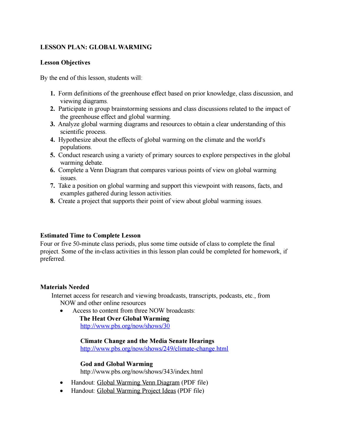 worksheet Global Warming The Signs And The Science Worksheet global warming lesson plan by alexandros alexandridis issuu