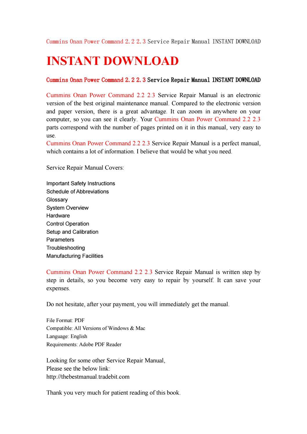 Cummins onan power command 2 2 2 3 service repair manual instant download  by ksfsen7duf - issuu