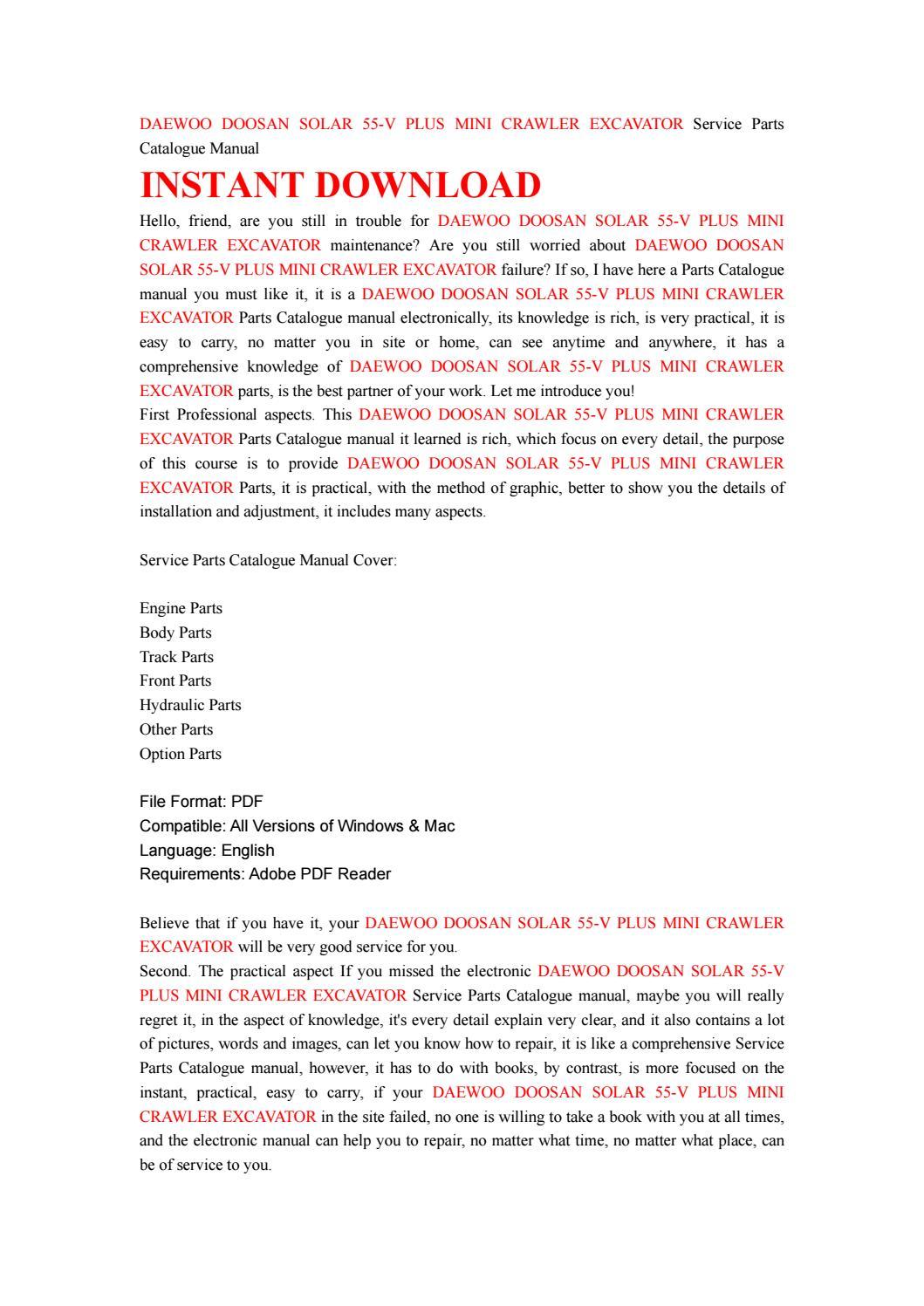 Daewoo doosan solar 55 v plus mini crawler excavator service parts  catalogue manual by ksfsen7duf - issuu