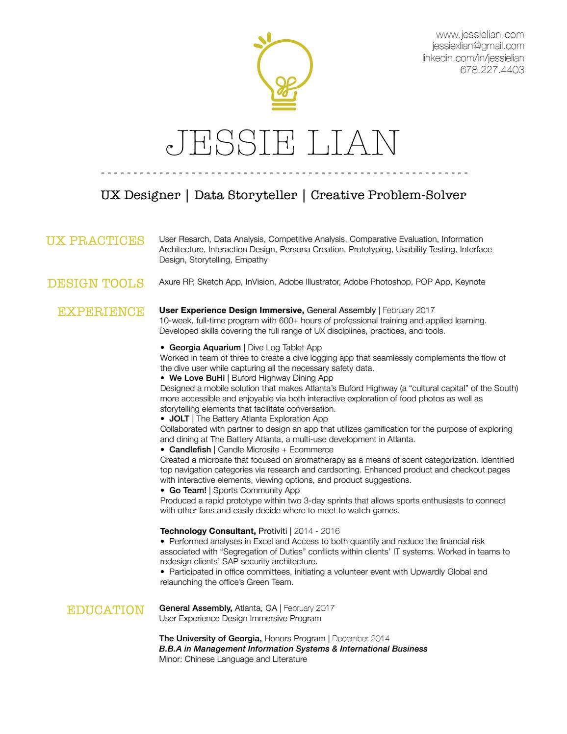 Jessie Lian Resume Ux Design By Jessie Lian Issuu