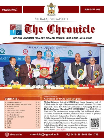 Chronicle vol 10 iss 3 jul sep 2016 by Dept of Medical