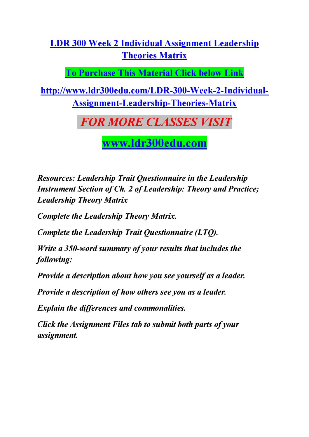 Ldr 300 week 2 individual assignment leadership theories matrix by ...