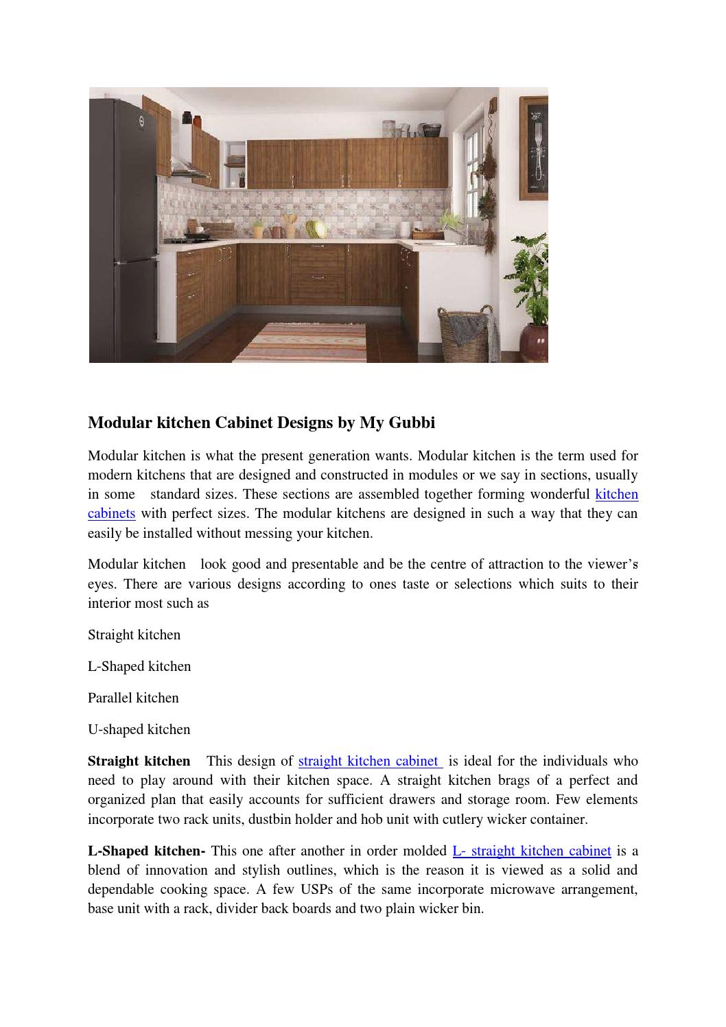 Modular Kitchen Cabinet Designs By My Gubbi By Mygubbi Issuu