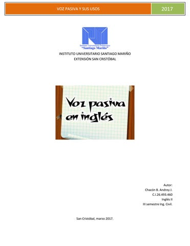 Voz Pasiva Ingles By Andrey Chacón Issuu