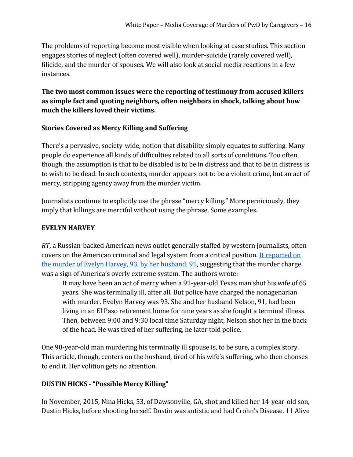 Reflection on Mercy Killing Essay - Words