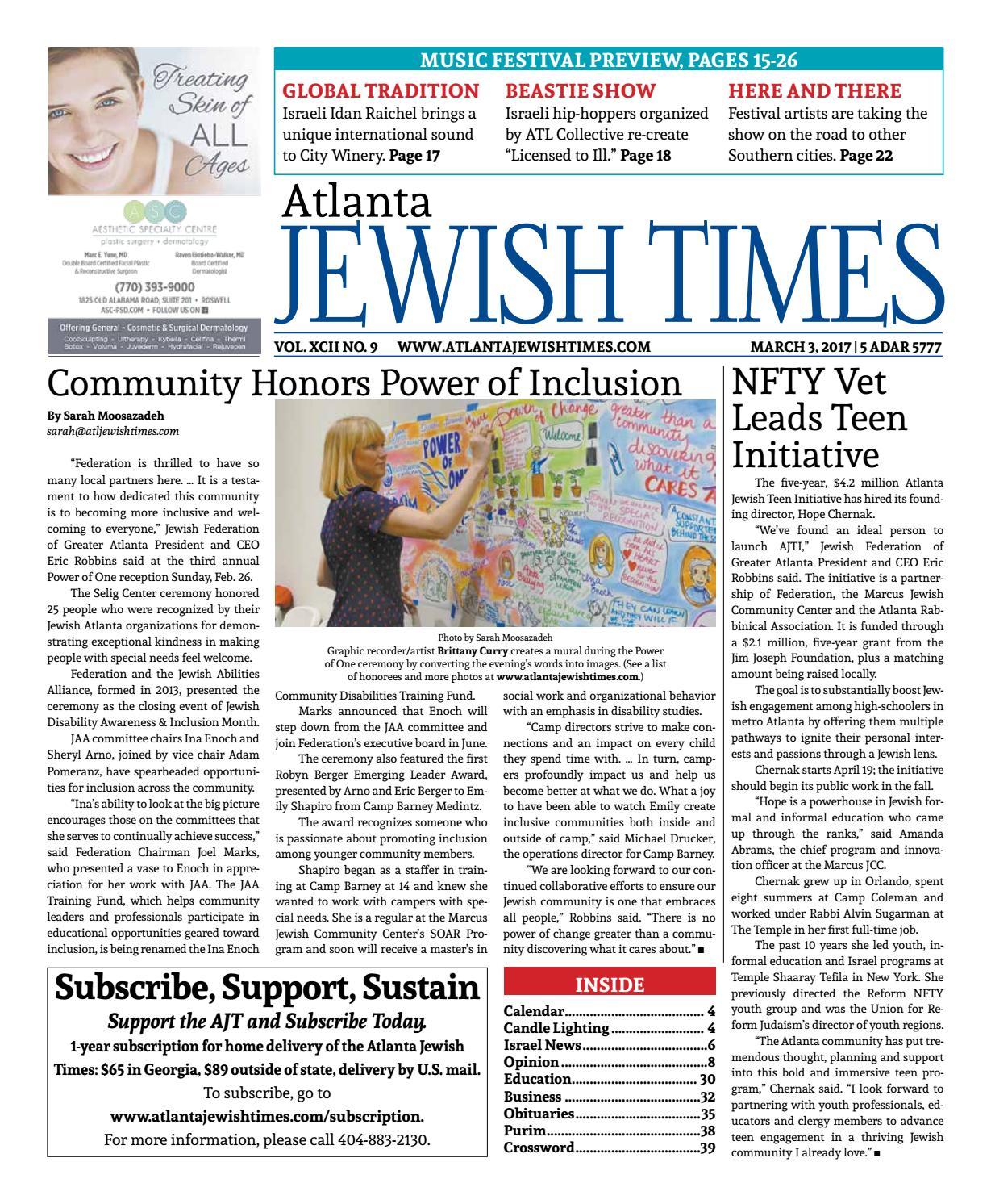 Atlanta Jewish Times Vol Xcii No 9 March 3 2017 By Atlanta Jewish Times Issuu