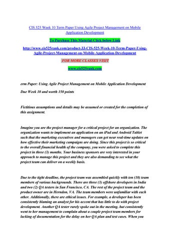 Agile project management term paper
