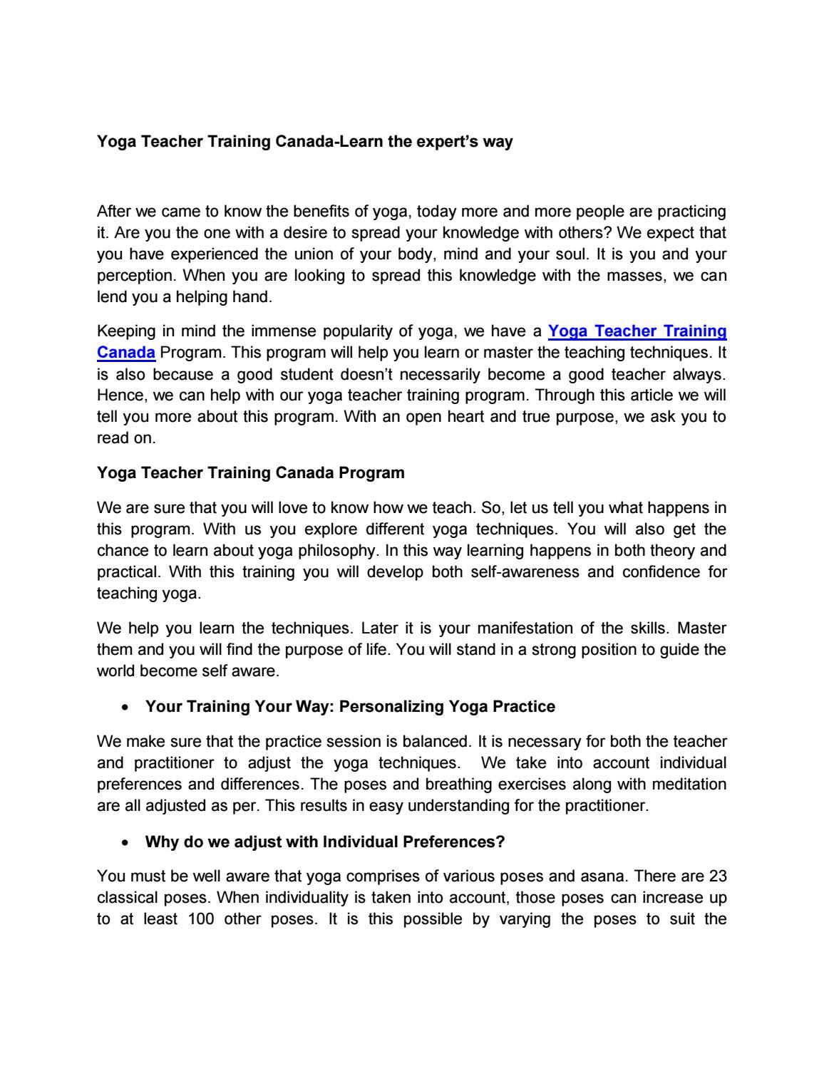 Yoga Teacher Training Canada Learn The Expert S Way By Yogatogo Issuu