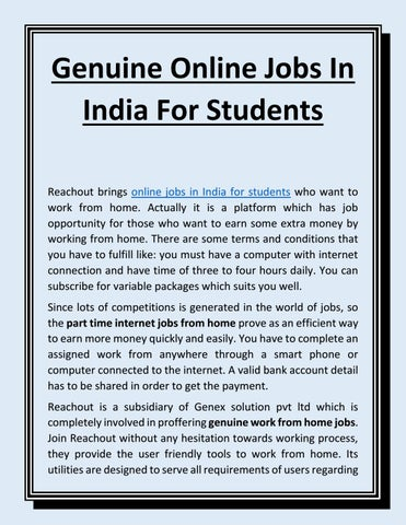 Online internet jobs for students