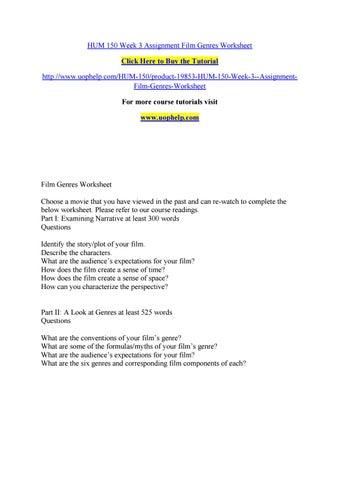 Hum 150 week 3 assignment film genres worksheet by pinck150 - issuu