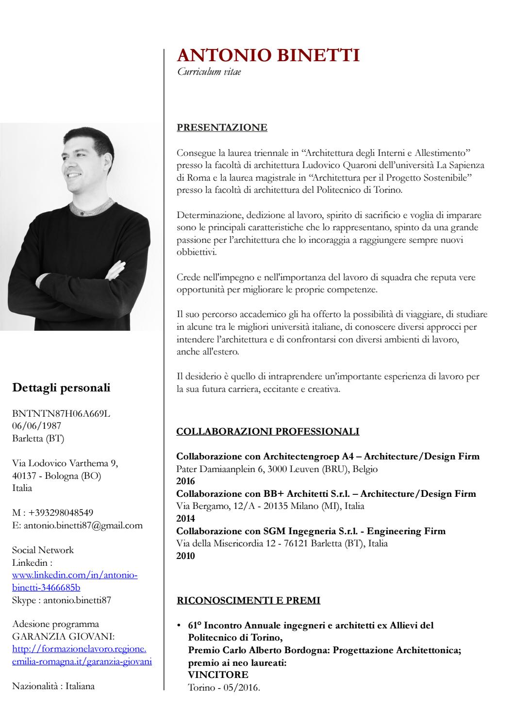 Curriculum vitae antonio binetti by antonio binetti issuu for Architetto per interni