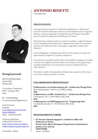 Curriculum vitae antonio binetti by antonio binetti issuu for Architetto interni