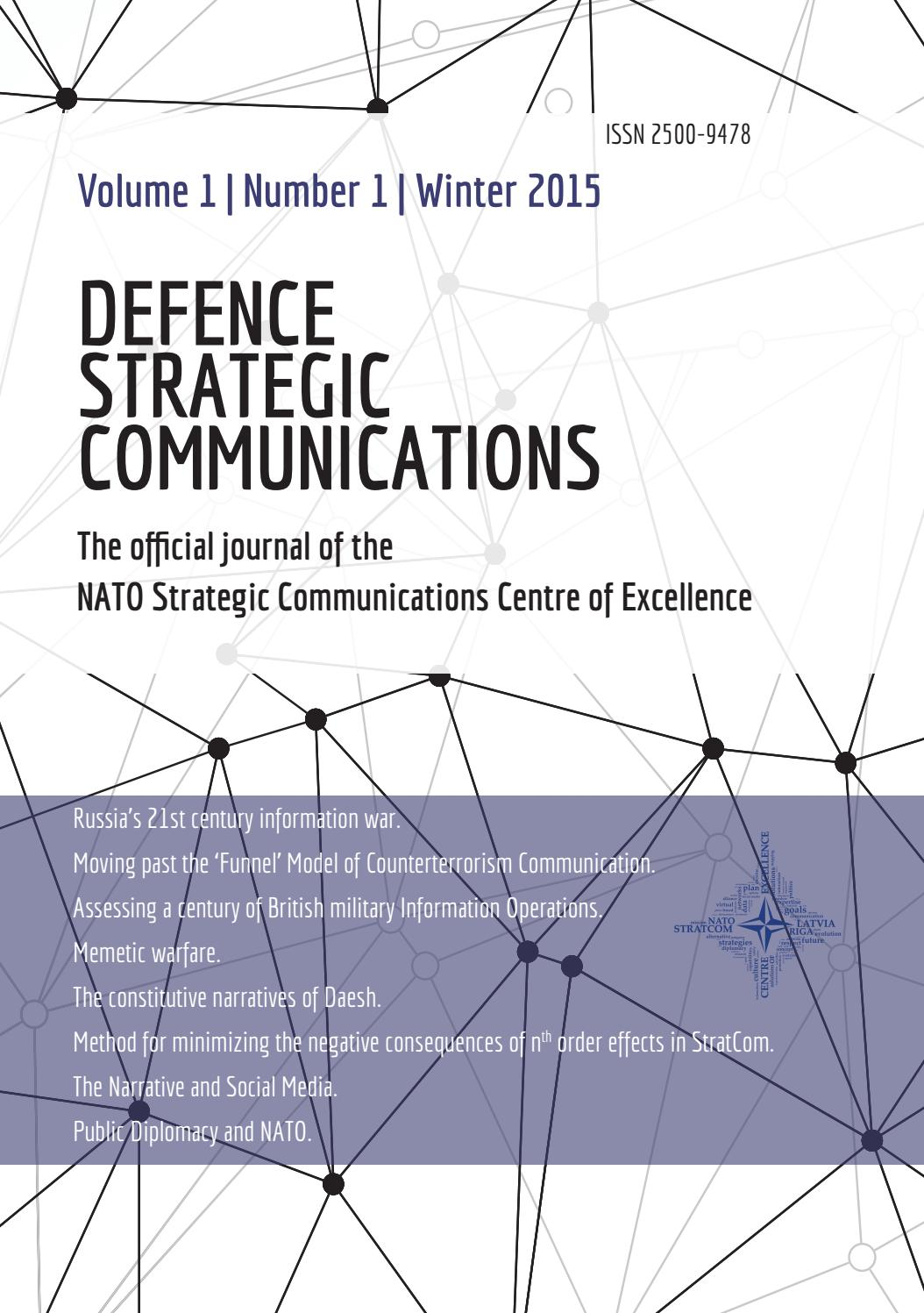 Academic Journal Defence Strategic Communications Vol 1 By Nato Stratcom Coe Issuu Facebook gives people the power to share and makes the world. defence strategic communications vol