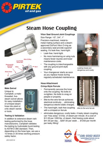 Steam hose crimp coupling by pirtek issuu steam hose coupling viton seal ground joint couplings size range 12 34 1 precision machined metal tometal mating surface and a steamapproved dupont publicscrutiny Images